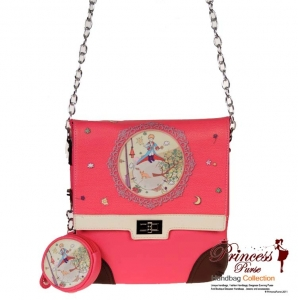 Designer Inspired Leatherette Messenger Bag w/ Colorful Theme Design In front and Coin Zipper Pouch.