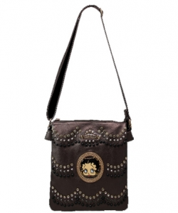 Licensed Betty Boop Messenger Bag Handbag Purse Studded KF4586 BRONZE