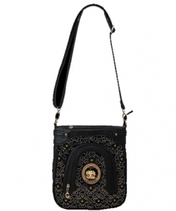 Licensed Betty Boop Messenger Bag Handbag Purse Studded KF4605 BLACK