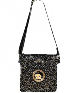 Licensed Betty Boop Messenger Bag Handbag Purse Studded KF4607 BLACK