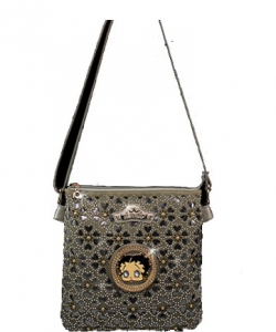 Licensed Betty Boop Messenger Bag Handbag Purse Studded KF4607 PEWTER