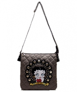 Licensed Betty Boop Messenger Bag Handbag Purse Studded KF6019 BRONZE