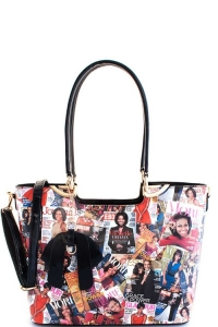 3 In 1 Chic Famous People Magazine Print Tote Handbag Design OB-7302 BLACK