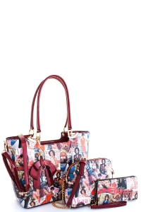 3 In 1 Chic Famous People Magazine Print Tote Handbag Design OB-7302 RED