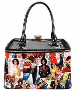 Designer Michelle Obama Tote Bag OB-7104 BLACK