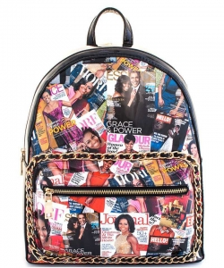 2in1 Chic Famous People Magazine Print Backpack OB6946W BLACK