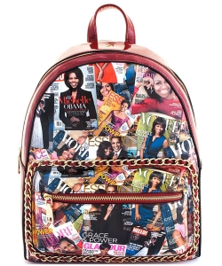 2in1 Chic Famous People Magazine Print Backpack OB6946W RED