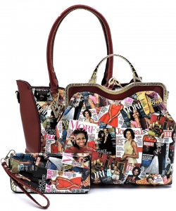 3 In 1 Chic Famous People Magazine Print Tote Handbag Design OB6450W RED
