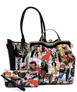 3 In 1 Chic Famous People Magazine Print Tote Handbag Design OB6450W BLACK