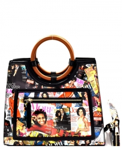 Magazine Print Round Handle Satchel Wallet Set OB6947 BLACK