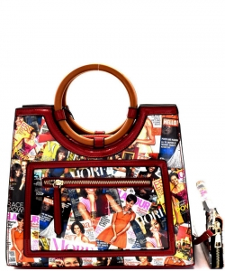 Magazine Print Round Handle Satchel Wallet Set OB6947 RED