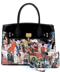 2 in 1 Classy Magazine Satchel Handbag Design OB-7073 BLACK