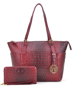 Ostrich Embossed Tote with Matching wallet OS1009 BURGUNDY