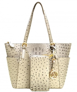 Ostrich Embossed Tote with Matching wallet OS1009 BIEGE