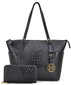 Ostrich Embossed Tote with Matching wallet OS1009 BLACK