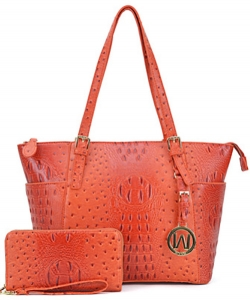 Ostrich Embossed Tote with Matching wallet OS1009 TANGARINE
