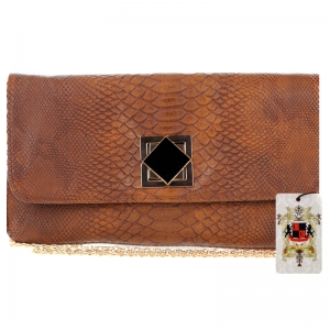 UE Original Design Faux Snake Skin Clutch  Sunset (2486) Cognac
