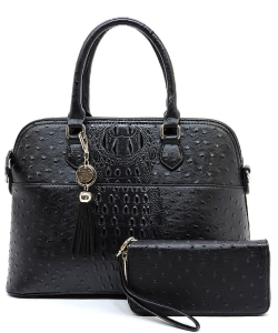 Animal Skin Textured Satchel With Charm Ornament Matching Wallet Set OS1030 BLACK