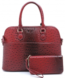 Animal Skin Textured Satchel With Charm Ornament Matching Wallet Set OS1030 BURGANDY