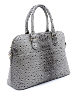Animal Skin Textured Satchel With Charm Ornament Matching Wallet Set OS1030 DGREY