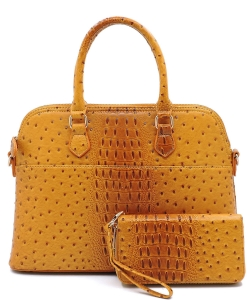 Animal Skin Textured Satchel With Charm Ornament Matching Wallet Set OS1030 MUSTARD