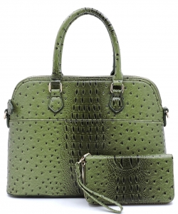 Animal Skin Textured Satchel With Charm Ornament Matching Wallet Set OS1030 Olive