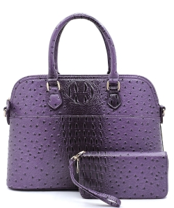 Animal Skin Textured Satchel With Charm Ornament Matching Wallet Set OS1030 PURPLE