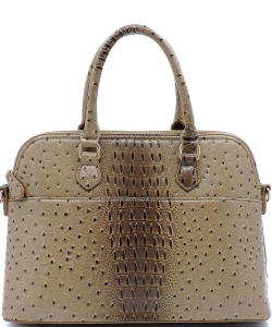 Animal Skin Textured Satchel With Charm Ornament Matching Wallet Set OS1030 Stone