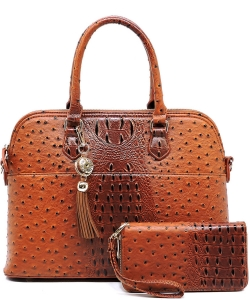 Animal Skin Textured Satchel With Charm Ornament Matching Wallet Set OS1030 TAN