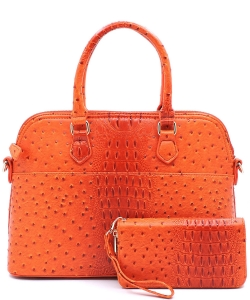 Animal Skin Textured Satchel With Charm Ornament Matching Wallet Set OS1030 Tangerine