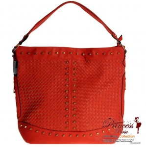 Designer Inspired Leatherette Handbag with Studded Decor and Twin Zipper Accents on sides.
