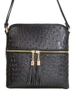 Ostrich Croc Fashion Crossbody Bag with Zip Tassel – OS062 BLACK