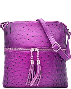 Ostrich Croc Fashion Crossbody Bag with Zip Tassel – OS062 FUSHIA