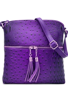 Ostrich Croc Fashion Crossbody Bag with Zip Tassel – OS062 PURPLE