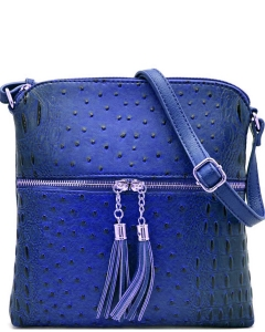 Ostrich Croc Fashion Crossbody Bag with Zip Tassel – OS062 ROYAL BLUE