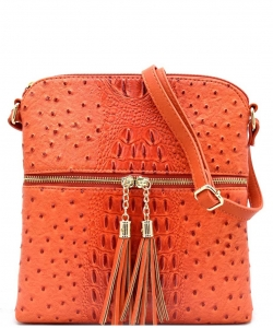 Ostrich Croc Fashion Crossbody Bag with Zip Tassel – OS062 TANGERINE