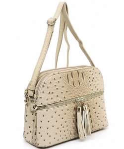 Ostrich Embossed Multi-Compartment Cross Body with Zip Tassel  OS050 BEIGE