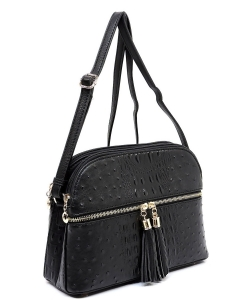 Ostrich Embossed Multi-Compartment Cross Body with Zip Tassel – OS050 BLACK