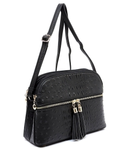 Ostrich Embossed Multi-Compartment Cross Body with Zip Tassel  OS050 BLACK