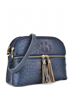 Ostrich Embossed Multi-Compartment Cross Body with Zip Tassel – OS050 BLUE