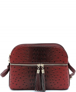 Ostrich Embossed Multi-Compartment Cross Body with Zip Tassel – OS050 BURGANDY