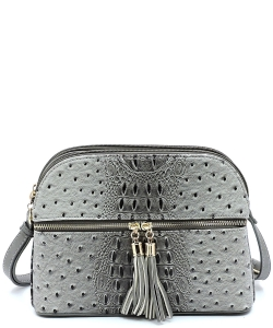 Ostrich Embossed Multi-Compartment Cross Body with Zip Tassel  OS050 GREY