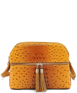 Ostrich Embossed Multi-Compartment Cross Body with Zip Tassel  OS050 MUSTARD