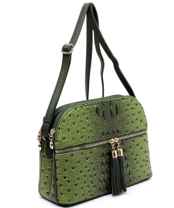 Ostrich Embossed Multi-Compartment Cross Body with Zip Tassel  OS050 OLIVE