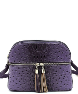 Ostrich Embossed Multi-Compartment Cross Body with Zip Tassel  OS050 PURPLE