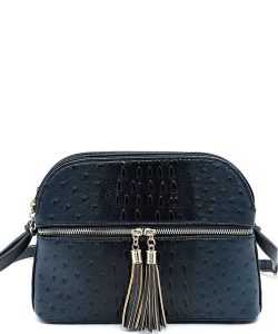 Ostrich Embossed Multi-Compartment Cross Body with Zip Tassel  OS050 BLUE