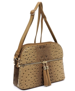 Ostrich Embossed Multi-Compartment Cross Body with Zip Tassel  OS050 STONE