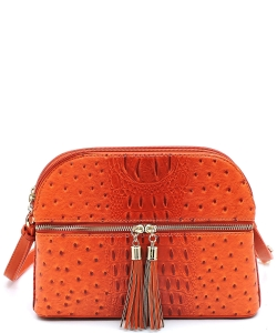 Ostrich Embossed Multi-Compartment Cross Body with Zip Tassel  OS050 TANGERINE