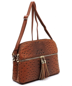 Ostrich Embossed Multi-Compartment Cross Body with Zip Tassel – OS050 TAN