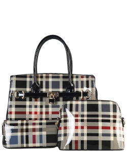 3 in 1 Plaid Design Patent Leather Medium Satchel with padlock deco plus  Matching Wallet GZ7300 BLACK